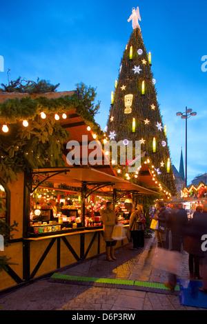 Christmas Market and the Biggest Christmas Tree in the World, Hansaplatz, Dortmund, North Rhine-Westphalia, Germany, - Stock Photo