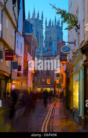 Colliergate and York Minster at Christmas, York, Yorkshire, England, United Kingdom, Europe - Stock Photo