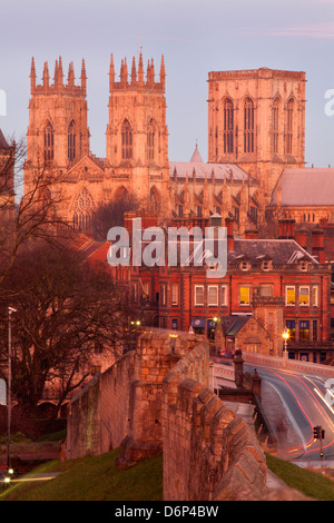 York Minster from the City Wall in twilight, York, Yorkshire, England, United Kingdom, Europe - Stock Photo
