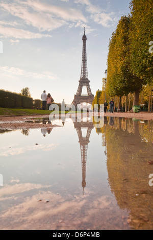The Eiffel Tower from Champ de Mars, Paris, France, Europe - Stock Photo
