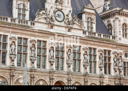 The Hotel de Ville (town hall) in central Paris, France, Europe - Stock Photo