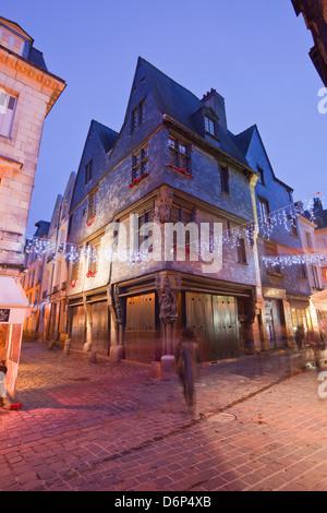 An old house in Vieux Tours with Christmas lights, Tours, Indre-et-Loire, France, Europe - Stock Photo