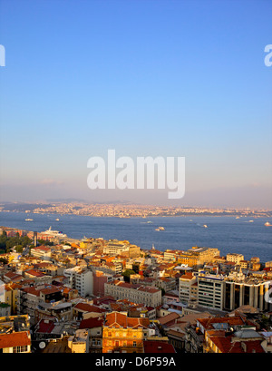 Panoramic view of Istanbul from Galata tower, Istanbul, Turkey, Europe, Eurasia - Stock Photo