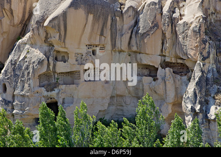 Rock houses, houses carved into the rocks, Goreme, Cappadocia, Anatolia, Turkey, Asia Minor, Eurasia - Stock Photo