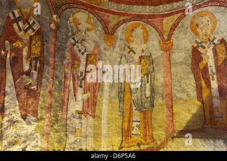 View of ceiling with fresco painting in a cave church, Goreme open air museum, Cappadocia, Anatolia, Turkey, Asia - Stock Photo