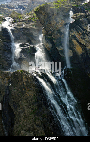 Waterfalls at the Cirque de Gavarnie, Pyrenees National Park, Hautes-Pyrenees, France, Europe - Stock Photo