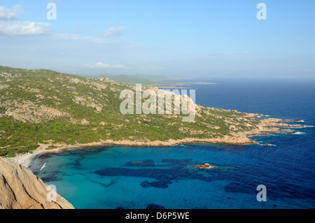 Overview of Roccapina Bay and the rocky south coast of Corsica from Cape Roccapina, Corsica, France, Mediterranean, - Stock Photo
