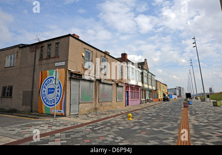 Derelict empty closed buildings ready for redevelopment Middlesbrough Cleveland Teeside UK - Stock Photo