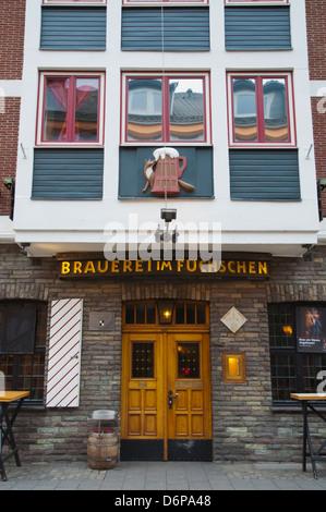 Brauerei im Fuchschen beer hall restaurant exterior Altstadt the old town Dusseldorf city North Rhine Westphalia - Stock Photo