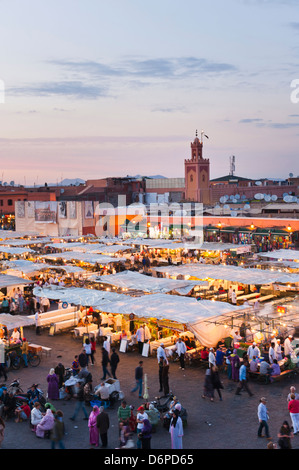 View of the Place Djemaa el Fna in the evening, Marrakech, Morocco, North Africa, Africa - Stock Photo