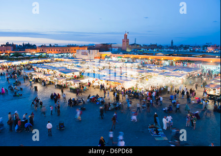 Food stalls in Place Djemaa El Fna at night, Marrakech, Morocco, North Africa, Africa - Stock Photo
