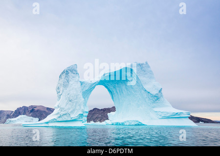 Grounded icebergs, Sydkap, Scoresbysund, Northeast Greenland, Polar Regions - Stock Photo