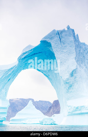 Grounded icebergs, Sydkap, Scoresbysund, Northeast Greenland, Polar Regions - Stock Photo