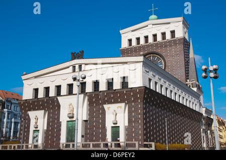 The Church of the Most Sacred Heart of Our Lord (1931) by Josip Plecnik at Namesti Jiriho Z Podebrad square Prague - Stock Photo