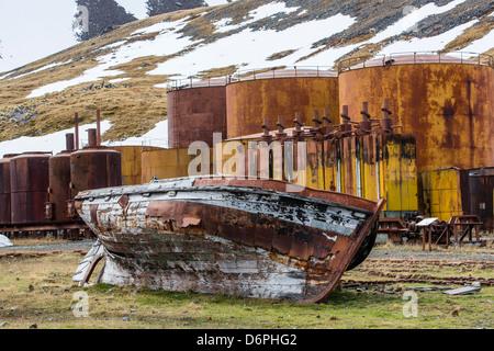 The abandoned Grytviken Whaling Station, South Georgia, South Atlantic Ocean, Polar Regions - Stock Photo