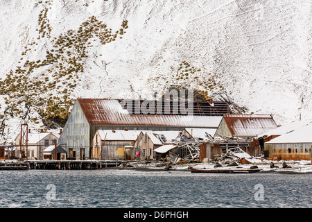 The abandoned Norwegian Whaling Station at Stromness Bay, South Georgia, South Atlantic Ocean, Polar Regions - Stock Photo