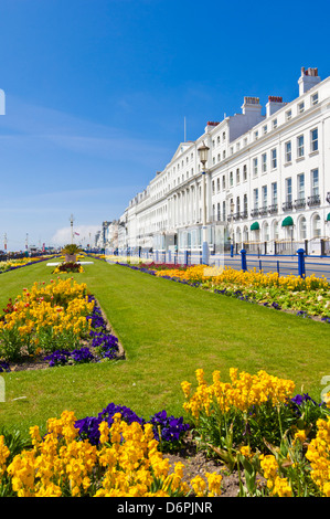 Hotels on the seafront promenade, flower filled gardens, Eastbourne, East Sussex, England, GB, UK, EU, Europe - Stock Photo