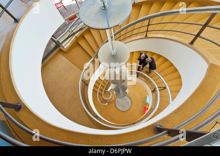 Spiral staircase inside the De La Warr Pavilion, Bexhill on Sea, East Sussex, England, UK, GB, EU, Europe - Stock Photo