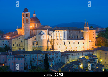 Ducal Palace at night, Urbino, Le Marche, Italy, Europe - Stock Photo