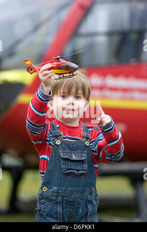 The launch of the Wales Air Ambulance '£1' appeal at the Arts Centre in Aberystwyth today. - Stock Photo