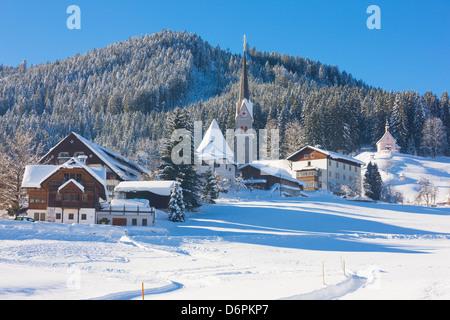 Gosau in winter, Gosau, Salzkammergut, Austria, Europe - Stock Photo