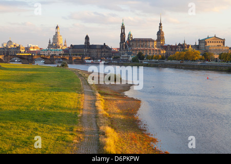 Historic Center of Dresden and the Elbe River at sunset, Saxony, Germany, Europe - Stock Photo