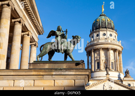 Sculpture of Tieck with the Theatre and Franzosisch (French) Church in the background, Gendarmenmarkt, Berlin, Germany, - Stock Photo