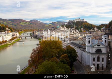 Overview of Salzburg in autumn, Salzburg, Austria, Europe - Stock Photo