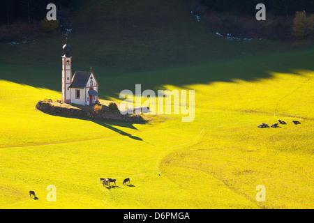 Saint Johann Church, near Saint Magdalena, Val di Funes, Dolomites, Trentino-Alto Adige, South Tirol, Italy, Europe - Stock Photo