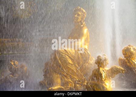 Water fountain at Linderhof Palace, Bavaria, Germany, Europe - Stock Photo