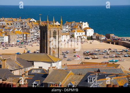 View over St. Ives, Cornwall, England, United Kingdom, Europe - Stock Photo