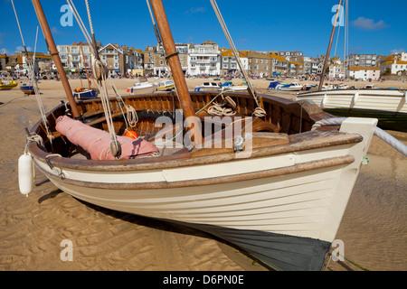 Boat on beach, St. Ives, Cornwall, England, United Kingdom, Europe - Stock Photo
