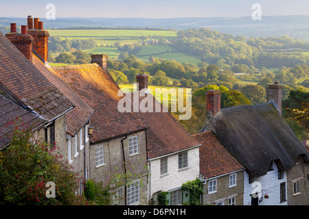 Houses along Gold Hill, Shaftesbury, Dorset, England, United Kingdom, Europe - Stock Photo