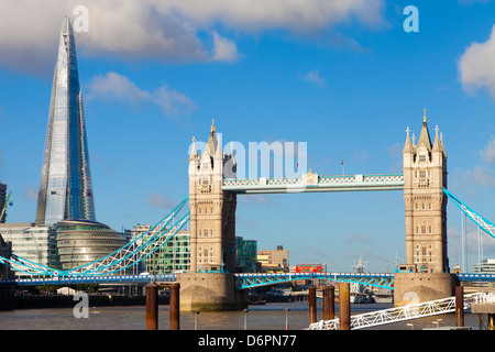 The Shard and Tower Bridge at night, London, England, United Kingdom, Europe - Stock Photo