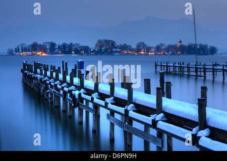 View of Frauen Island from the shore of Lake Chiemsee, Bavaria, Germany, Europe - Stock Photo