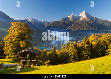 Overview of Berchtesgaden in autumn with the Watzmann mountain in the background, Berchtesgaden, Bavaria, Germany, - Stock Photo