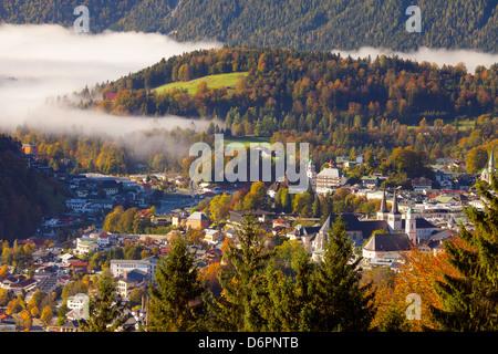 View over Berchtesgaden in autumn, Berchtesgaden, Bavaria, Germany, Europe - Stock Photo