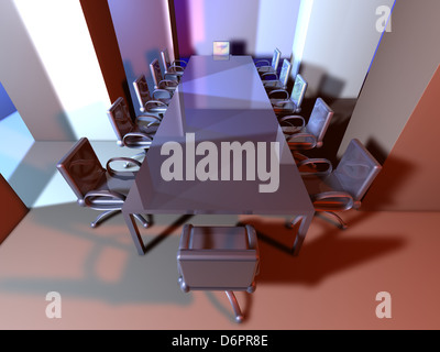 3D rendered Boardroom. Surreal metal Interior. - Stock Photo