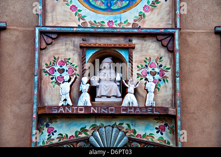 Detail of an old church, Chimayo, New Mexico, USA - Stock Photo
