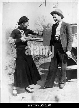 Bonnie Parker and Clyde Barrow, 1933 - Stock Photo