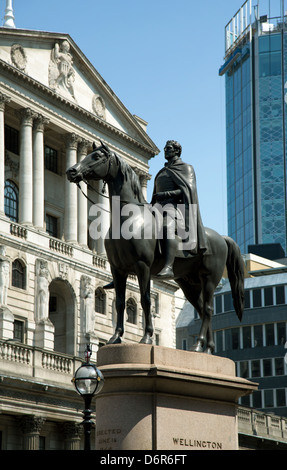 London, United Kingdom, equestrian statue of the Duke of Wellington - Stock Photo