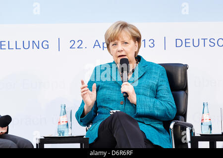 Germany, Berlin. 22th April, 2013. Participation CHANCELLOR Angela Merkel and Tusk Polish MP at the book launch 'Angela Merkel - The Chancellor and her world'  by Stefan Cornelius and afterwards they have participated in 'Talking about Europe' at Atrium of the Deutsche Bank in Berlin.