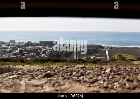 Border fence viewed from an old bunker along the border separating San Diego and Tijuana February 17, 2012 in San - Stock Photo