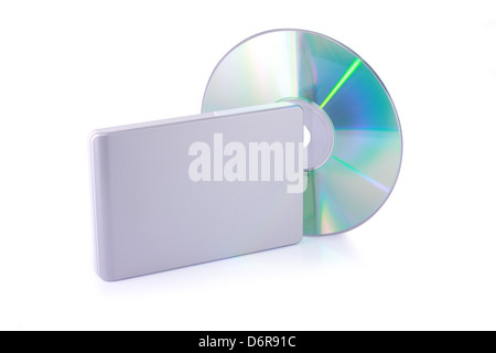 External hard disk and dvd isolated on white background. Including clipping path. - Stock Photo