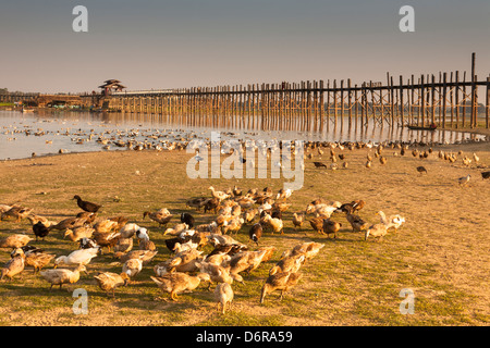 U Bein wooden bridge, world's longest teak footbridge, crossing Taungthaman Lake, Amarapura, Mandalay, Myanmar, - Stock Photo