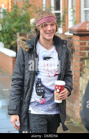 Dougie Poynter of McFly arrives at Fearne Cotton's house for a Christmas Party London, England - 22.12.11 arriving - Stock Photo