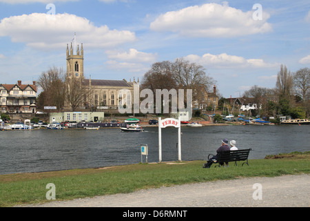 Ferry, Bell Inn and St Mary's church, Hampton, East Molesey, Surrey, England, Great Britain, United Kingdom, UK, - Stock Photo