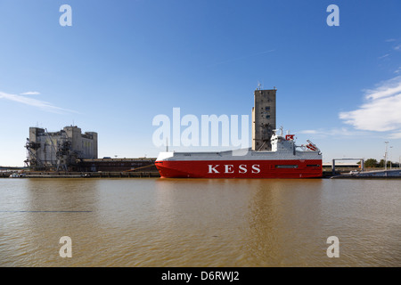 Emden, Germany, the Ems Highway, a car transporter in service, in Emden's outer harbor - Stock Photo
