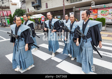 Japan, Honshu, Kanto, Tokyo, Asakusa, Jidai Matsurai Festival, Participants In Traditional Clothing - Stock Photo