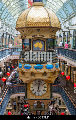 Interior of historic Queen Victoria Building or QVB shopping arcade in central Sydney Australia - Stock Photo